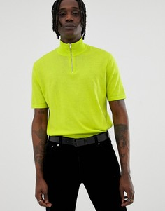 Неоново-зеленая футболка с короткой молнией ASOS DESIGN - Зеленый