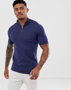 Темно-синяя трикотажная футболка с короткой молнией ASOS DESIGN - Темно-синий