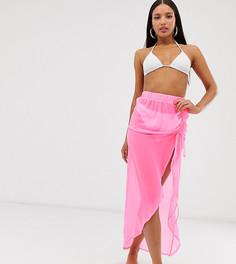 Неоново-розовое пляжное парео со сборками ASOS DESIGN Tall - Розовый