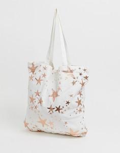 Большая пляжная сумка-тоут из хлопка с золотисто-розовыми морскими звездами ASOS DESIGN print - Мульти