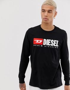 Черный лонгслив с логотипом Diesel T-Just Division - Черный