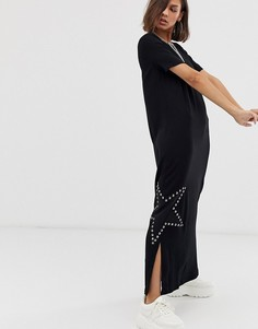 Платье макси со звездой из заклепок Love Moschino - Черный