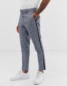 Узкие брюки в клетку с полосой сбоку Only & Sons - Серый