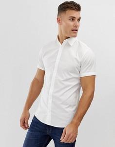 Белая облегающая рубашка с короткими рукавами Jack & Jones - Белый