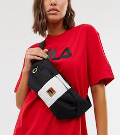 Монохромная сумка-кошелек на пояс с полосой и логотипом Fila Tarin - Черный