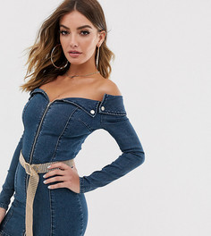 Джинсовое платье мини с открытыми плечами и поясом Liquor N Poker - Синий