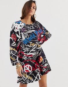 Платье с логотипом и оборкой на подоле Love Moschino - Мульти