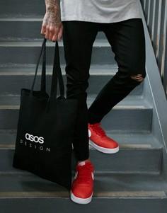 Черная сумка-тоут из органического хлопка с принтом ASOS DESIGN - Черный