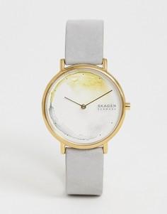 Часы с кожаным ремешком Skagen SKW2772 Signatur - Серый