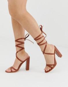Светло-коричневые босоножки на блочном каблуке с завязками Simmi London Heidi - Рыжий