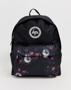 Сумка-рюкзак с карманом с цветочным узором Hype - Черный