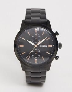 Мужские черные часы Fossil FS5379 - Черный
