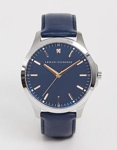 Мужские темно-синие часы с кожаным ремешком Armani exchange AX2406 - Темно-синий