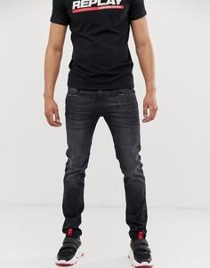 Эластичные зауженные джинсы черного цвета Replay Anbass - Черный