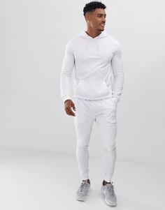 Обтягивающий спортивный костюм белого цвета с худи ASOS DESIGN - Белый