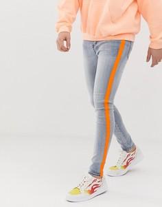 Супероблегающие джинсы с неоново-оранжевой лентой Sixth June - Синий