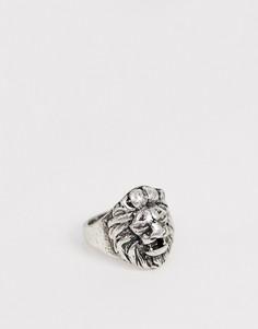 Кольцо с головой льва Icon Brand - Серебряный
