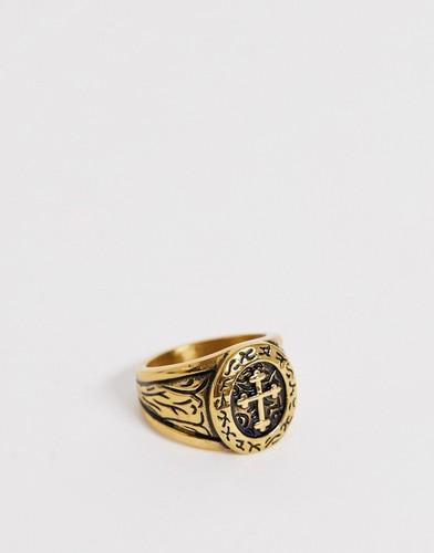 Золотистое кольцо с крестом Seven London - Золотой