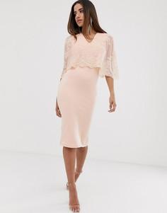 Платье миди с кейпом и пайетками Club L - Розовый