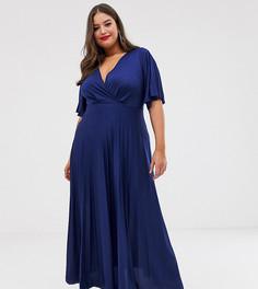 Плиссированное приталенное платье макси ASOS DESIGN Curve - Темно-синий