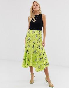 Лаймовая атласная юбка миди с цветочным принтом и расклешенным подолом ASOS DESIGN - Мульти