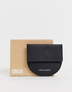Черная полукруглая кожаная визитница с карманом для монет ASOS DESIGN - Черный