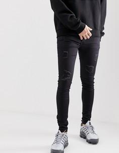 Черные супероблегающие джинсы с состаренной отделкой Sixth June - Черный