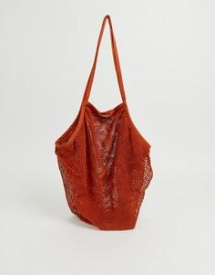 Пляжная сетчатая сумка-шоппер ASOS DESIGN - Красный