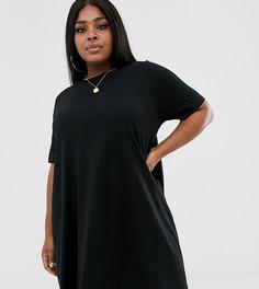 Платье-футболка мини свободного кроя ASOS DESIGN Curve - Черный