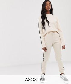 Спортивный костюм из свитшота и джоггеров с контрастной окантовкой ASOS DESIGN Tall - Бежевый