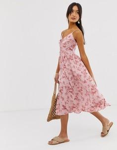 Розовое платье миди с тропическим принтом New Look - Розовый