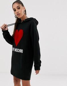 Платье с капюшоном и флоковым логотипом Love Moschino - Черный