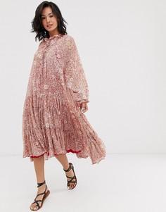 Ярусное платье макси с цветочным принтом Free People feeling groovy - Красный