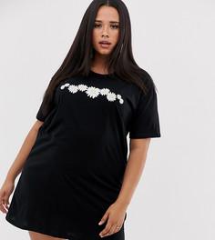 Свободное платье-футболка с цветочным принтом Wednesdays Girl Curve - Черный