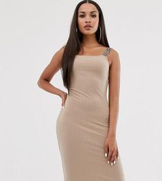 Бежевое облегающее платье миди River Island - Бежевый