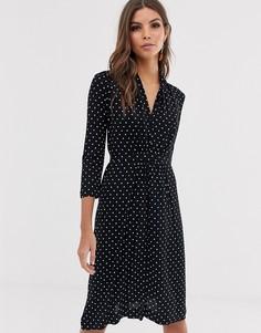 Платье с запахом и принтом в горошек French Connection - Черный