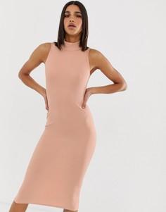 Платье миди в рубчик с высоким воротом In The Style - Рыжий