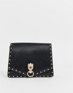 Портфель с металлической фурнитурой и заклепками ASOS DESIGN - Черный
