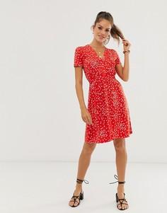 Короткое приталенное платье с цветочным принтом French Connection - Красный