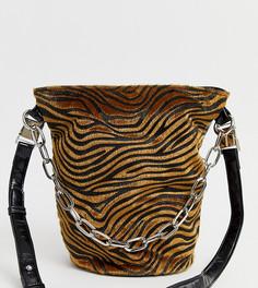 Сумка-мешок с тигровым принтом и цепочкой Sacred Hawk - Мульти