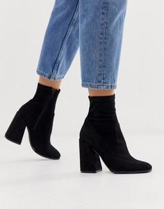Черные ботинки на каблуке ASOS DESIGN - Ella - Черный
