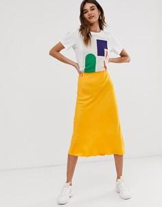 Атласная юбка косого кроя ASOS WHITE - Мульти