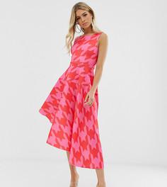 Розовое асимметричное платье миди с принтом Flounce London - Розовый