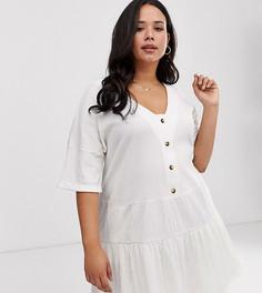 Фактурное ярусное платье на пуговицах ASOS DESIGN Curve - Белый
