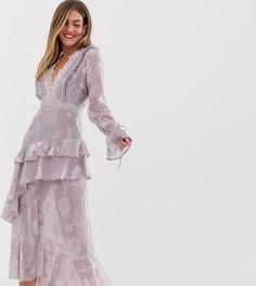 Сиреневое платье миди с глубоким вырезом и оборкой Dark Pink - Фиолетовый