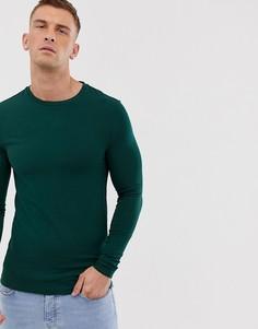 Зеленый обтягивающий лонгслив ASOS DESIGN - Зеленый