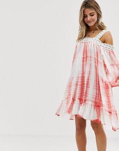 Свободное платье с принтом тай-дай и кружевной отделкой En Creme - Белый