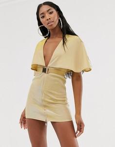 Золотистое платье мини с глубоким вырезом, ремнем и кейпом Rare - Золотой
