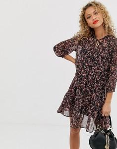 Ярусное шифоновое платье с цветочным принтом New Look - Мульти