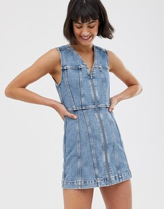 Синее джинсовое платье мини на молнии Weekday - Синий